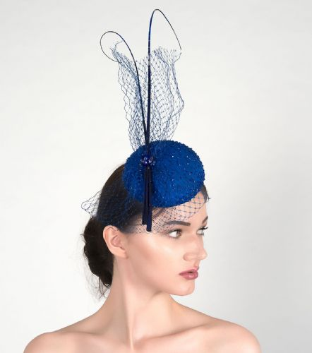 "Ultramarine Blue Silk Beaded Veil Quills Cocktail Hat Button Headpiece Fascinator ""Niccy"""